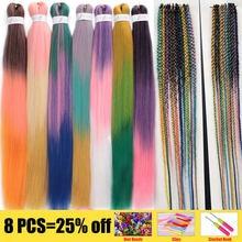 26 pulgadas fácil Ombre Xpression trenzado de cabello Pre-estirado sintético EZ a baja temperatura de fibra de extensiones de cabello de ganchillo para las mujeres