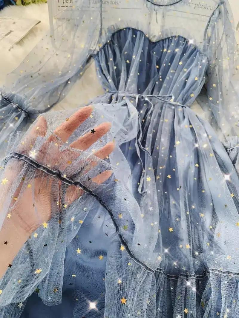 Primavera Autunno Nuove Donne Star Paillettes Garza Flare Sleeve Lace-Up Princess Dress Donna Elegante O-Collo Della Maglia Abiti a Palloncino