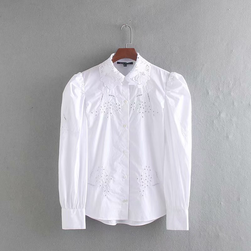 Women Lace Crochet Turn Down Collar Casual White Smock Blouse Shirts Women Hollow Out Embroidery Blusas Puff Sleeve Tops LS4225