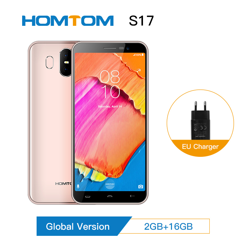 Original HOMTOM S17 Android 8.1 Smartphone Quad Core 5.5inch Fingerprint Face Full Display 2G RAM16G ROM 13MP+8MP Mobile Phone