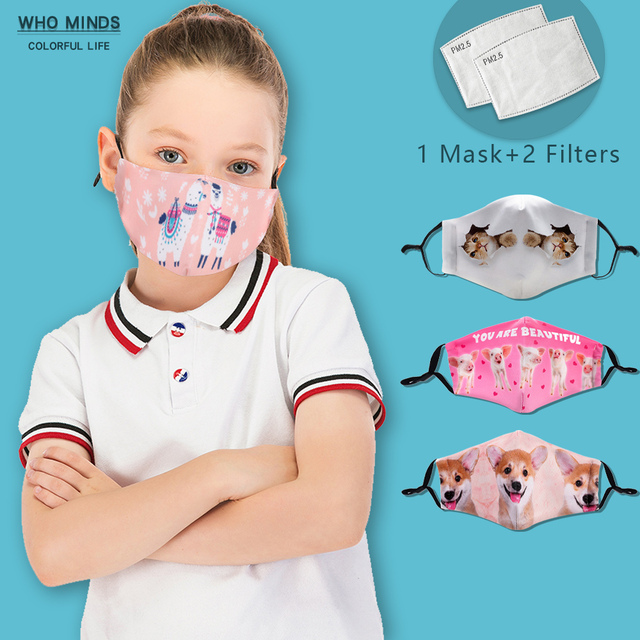 With Adjustable Straps Reusable Mouth Mask Washable Cute Kids Mask Alpaca Dust Face Mask With Filter Child Windproof Flu Mask