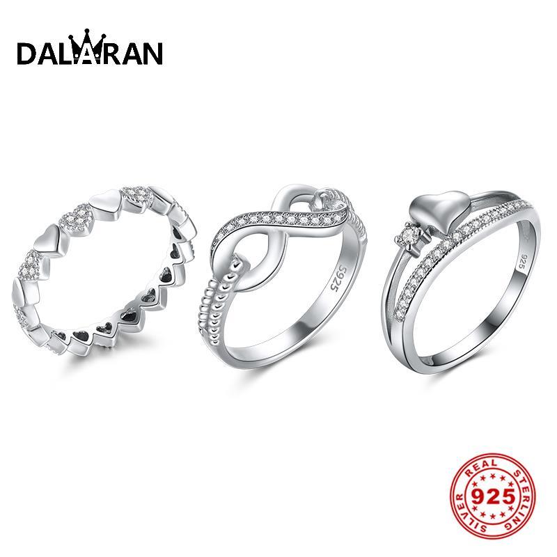 DALARAN 925 Sterling Silver Heart Shape Ring For Women Endless Love Symbol Wedding Female Finger Ring Silver 925 Jewelry