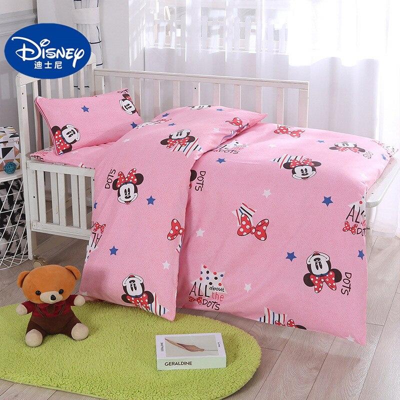 Disney-parure de lit 3 pièces   Parure de lit 100% coton, housse de couette rose, de style princesse Minnie Mickey Mouse, 60x120cm, pour filles et enfants