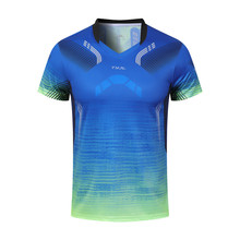 Быстросохнущий Топ для бадминтона, мужская и женская летняя футболка с коротким рукавом, Спортивная футболка оранжевого и синего цвета, одежда для настольного тенниса, microp