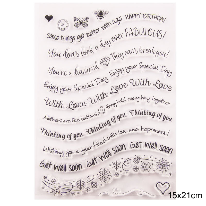 Happy Birthday Clear Stamps for Scrapbooking Card Making Rubber Stamp Wave Lettersn Die Cut Album Embossing Roller Transparent