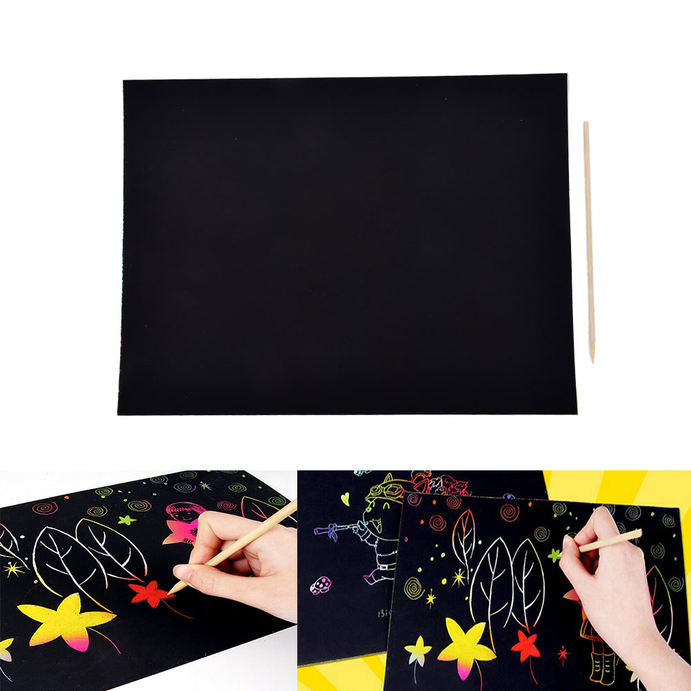 1Sheet A4 Art Painting Paper With Drawing Stick Baby Playing Toys Painting Set Scratch Paper Colorful Magic Scratch