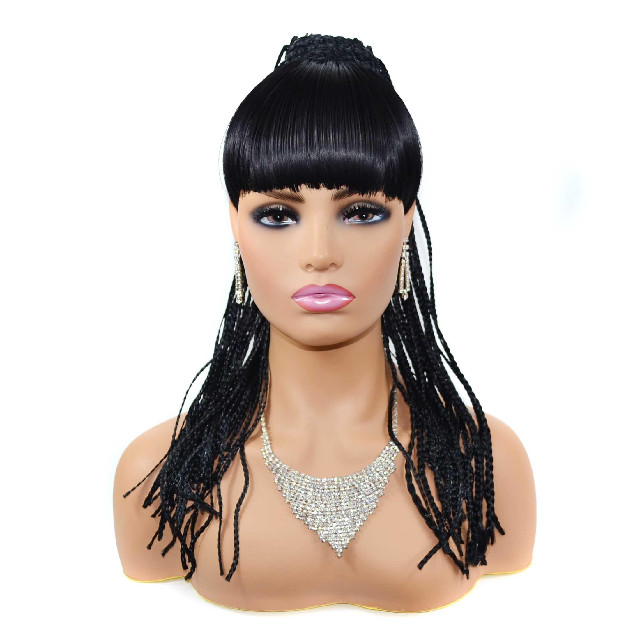 Zm Hair Long Box Braids Braided Hair Bun With Bangs Long Braided African Bun Bangs Aliexpress
