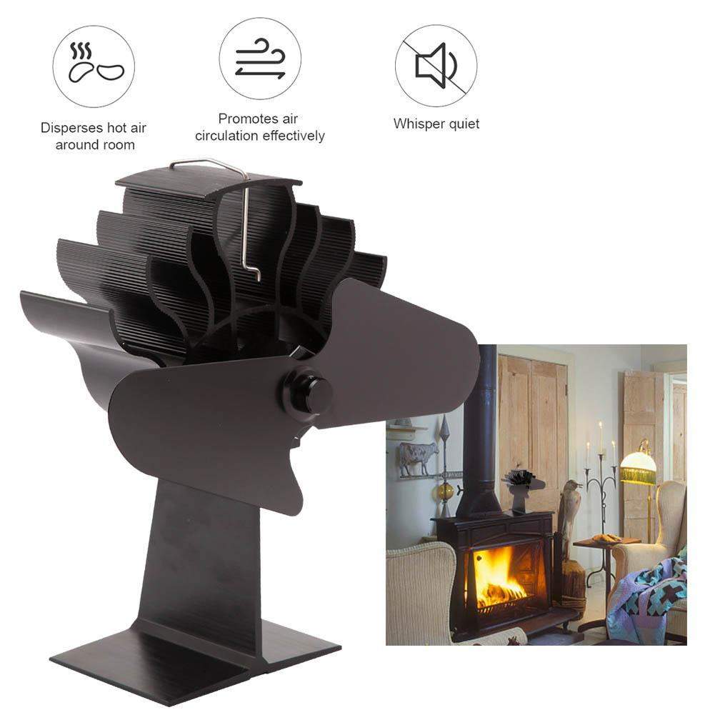 Black Heat Powered Stove Fan Heat Powered Warm Air For Wood Log Burner And Fireplace