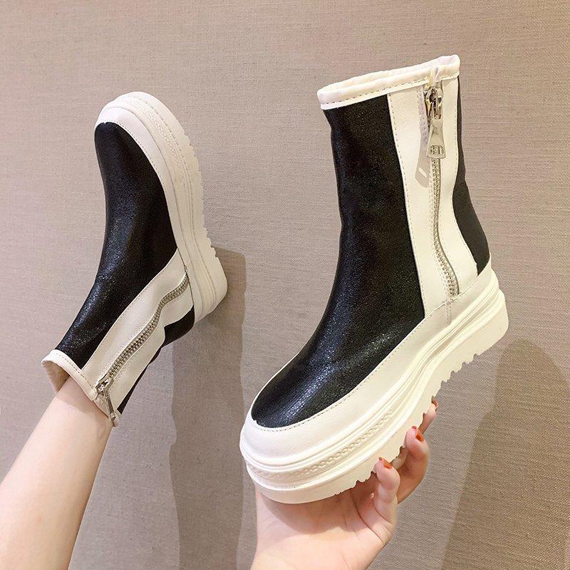 2020 Winter Ankle Boots Women High Platform Shoes Fashion Glitter Leather Silver Short Boots Women Black Warm Plush Snow Boots