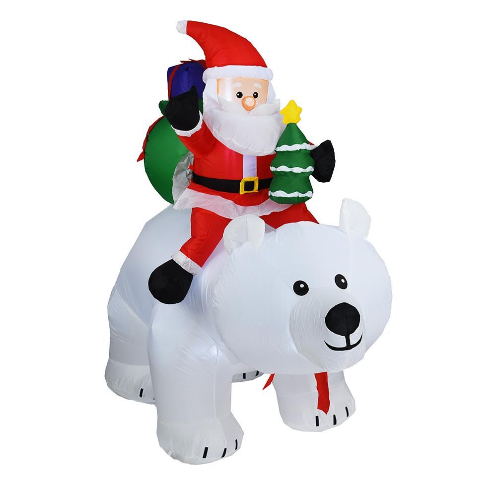 2M Oso Polar inflable Santa Claus montando Navidad muñeca inflable Año Nuevo Feliz Navidad decoración para el centro comercial