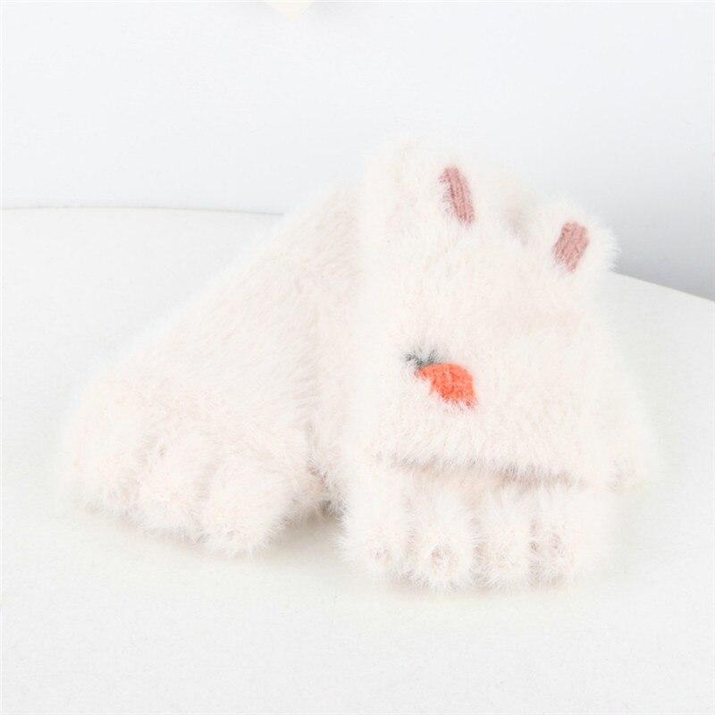 Winter Gloves Children 3-8 Years Half Finger Flip Cover Animal Gloves Outdoors Warm Children Mittens Plush Gloves N13