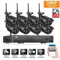 2MP CCTV система 1080P 8ch HD Беспроводной NVR комплект 3 ТБ HDD Открытый ИК ночной IP Wifi камера система безопасности видеонаблюдение Hiseeu