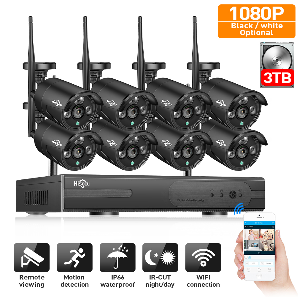 2MP CCTV System 1080P 8ch HD Wireless NVR Kit 3TB HDD Outdoor IR Night IP Wifi Camera Security System Video Surveillance Hiseeu