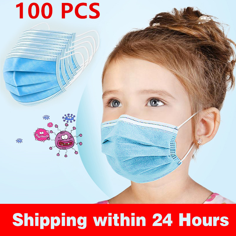 Children Face Mouth 100Pcs 3 Layer Mouth Soft Soft Breathable Mask Disposable Elastic Kids Disposable Mask 12-24H Shipping