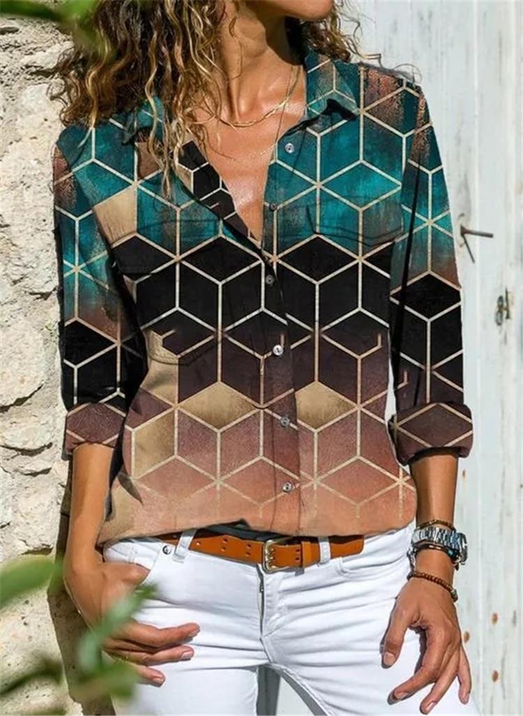 Fashion long-sleeved women's shirt casual printing plus size shirt ladies top 3