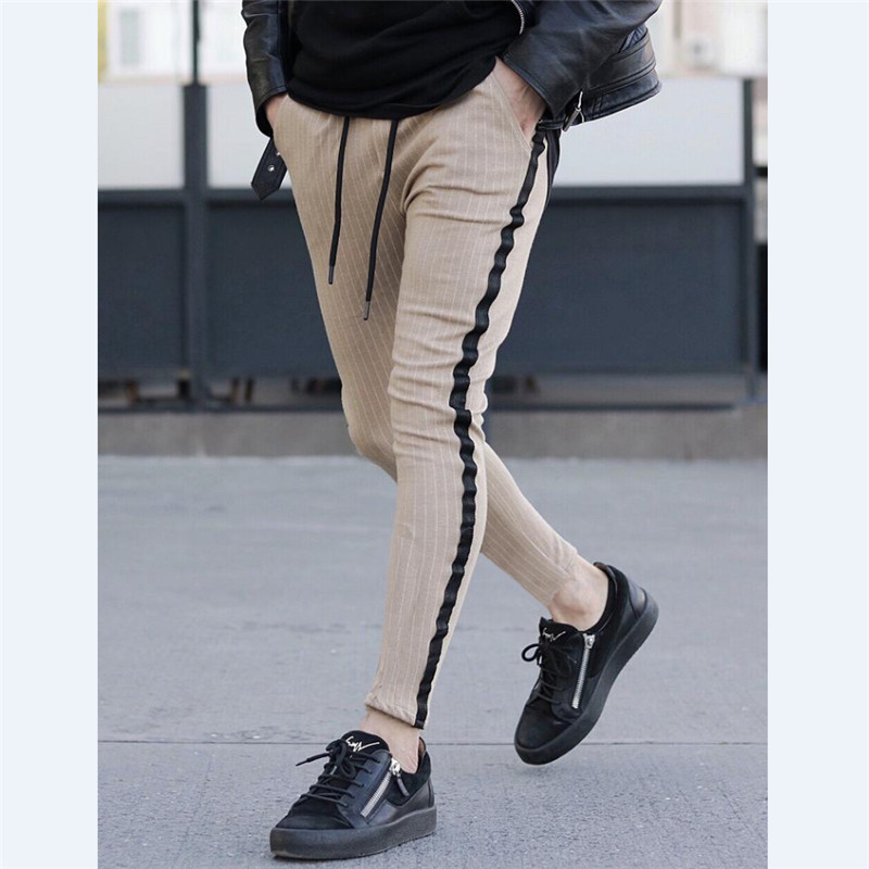 Size M To 3XL Men Striped Long Pants Spring Autumn Skinny Gray Blue Pants Hip Hop Straight Casual Trousers Slim Long Pants Men