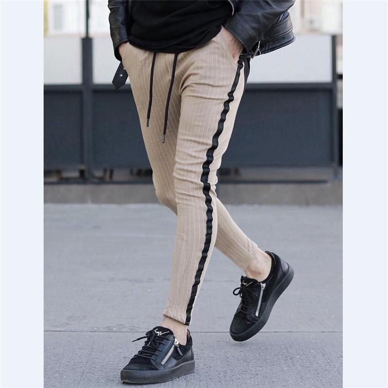 Size M To 3XL Men Striped Long Pants Spring Autumn Skinny Gray Blue Pants Hip Hop Straight Casual Trousers Slim Long Pants Men