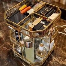 Caja de almacenamiento de maquillaje 360 grados giratoria 3 capas de almacenamiento de vidrio encimera tocador de baño Vintage caja de almacenamiento de maquillaje Suita