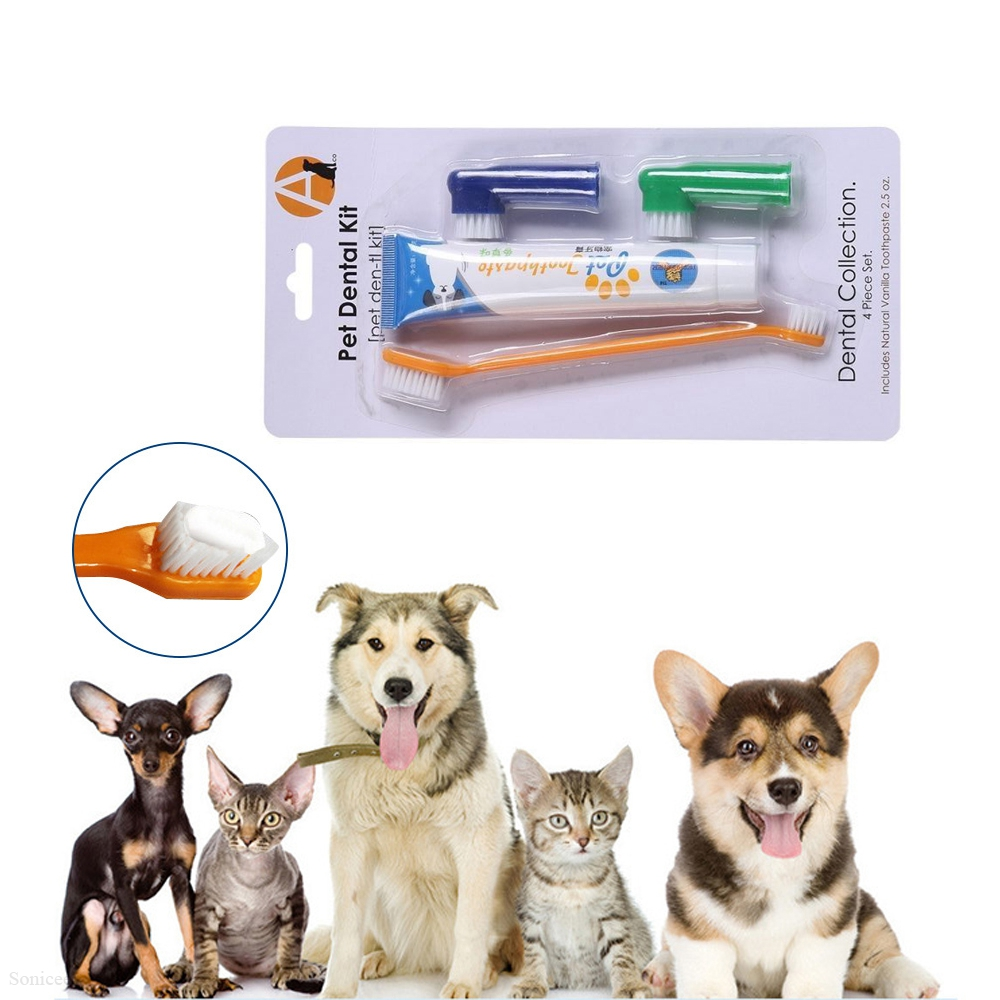 Pet Toothbrush Set Hot Puppy Vanilla/Beef Taste Toothbrush Toothpaste Dog Cat Finger Tooth Back Up Brush Care image