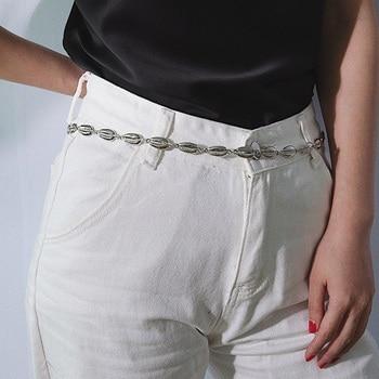 Luxury Women Alloy Chain Belt Gold Silver Shell Waist Chains Fashion Designer Dress Jewelry cinturon mujer Accessories