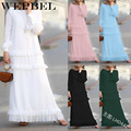 As Mulheres Muçulmanas Abaya Vestido WEPBEL Casual Ruffles Cor Sólida Luva Cheia de Moda Soltas Casual Longo Maxi Vestidos Das Senhoras