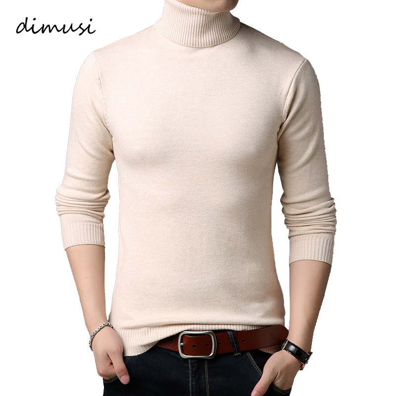 DIMUSI Autumn Winter Mens Sweater Casual Solid Color Pulll Turtleneck Sweaters Men Slim Fit Knitted Pullovers Clothing 3XL