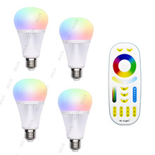 MiLight 9W LED lamp E27 RGB + CCT Bulb Mi Light LED Bulbs AC 85V-265V 2.4G RF Wifi Remote Control Smart  Atmosphere lighting
