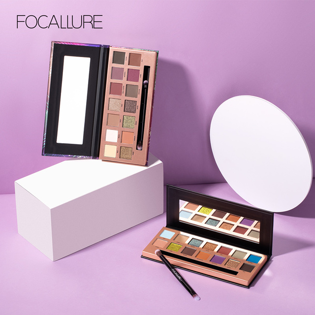 FOCALLURE 14 Colors Eye Shadow Palette Matte Glitter High Pigment Hot in ins Palette Eyeshadow with Brush Eyes Makeup Eyeshadow 2
