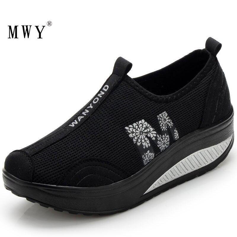 MWY Frauen Casual Schuhe Wanderschuhe Atmungsaktives Mesh Schaukel Keile Schuhe Höhe Zunehmende Weibliche Müßiggänger Deportivas Mujer