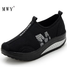 MWY Women Casual Shoes Walking Shoes Breathable Mesh Swing Wedges Shoes Height Increasing Female Loafers Deportivas Mujer