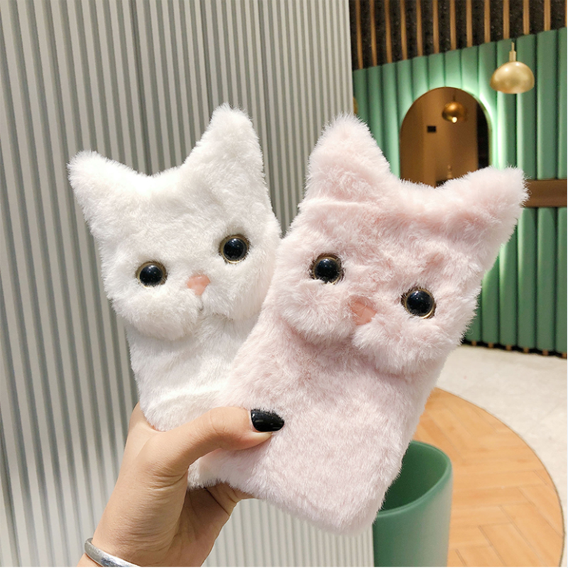 Cute Cat Ears Fur Plush Case For Samsung Galaxy S21 Ultra Plus Case Silicon Coque Cover For Samsung S30 Ultra Plus Phone Case