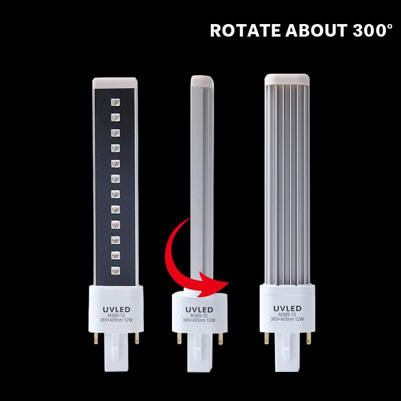 Замена 12 Вт УФ светодиодная лампа для дизайна ногтей сушилка фототерапия гель отверждения свет машина 365 + 405nm двойной источник света