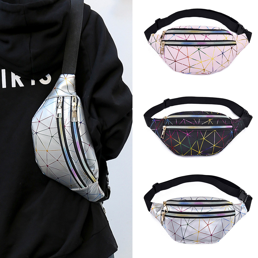 New Style Brand Fashion Pockets Ladies Pink Silver Black Geometric Pockets Laser Practical And Portable Unisex Phone Waist Bag