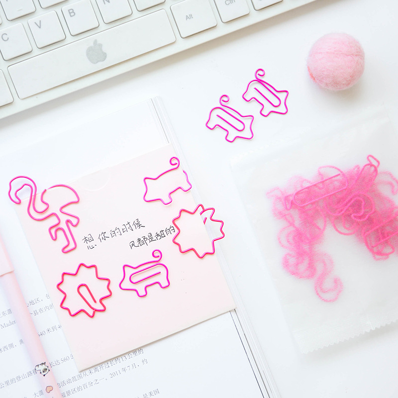 10pcs/lot Cute Mini Decorative Metal Pink Pig Flamingo Paper Clips Paperclips Bookmark Office Accessories Statioinery
