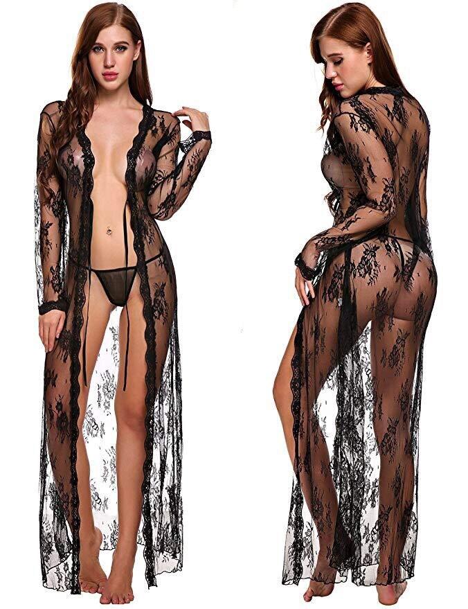 Women Sexy Lingerie Long Robe Open Bra Erotic Lace See-through Sleepwear Bandage Dress Set Nightwear Underwear Belt Nightgown