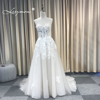 Leeymon Champagne and Ivory Boho Wedding Dress Lace Appliques Beaded Strapless Wedding Gown Beach Bridal Gown Robe de Mariee