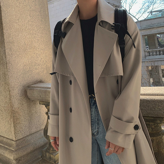 IEFB Men's Wear 2021 Spring  Fashion New Double Breasted Clothes Male Long Coat Loose Overcoat Trend Handsome Casual Windbreak 3