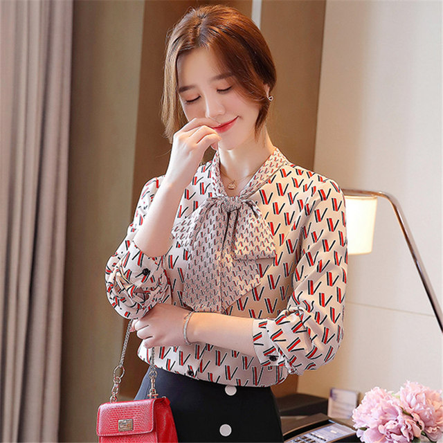 Autumn Fashion Women Tops And Blouses Long Sleeve Letter Print Chiffon Shirts Casual Lady Lac-up Bow V-Neck Clothing Blusas