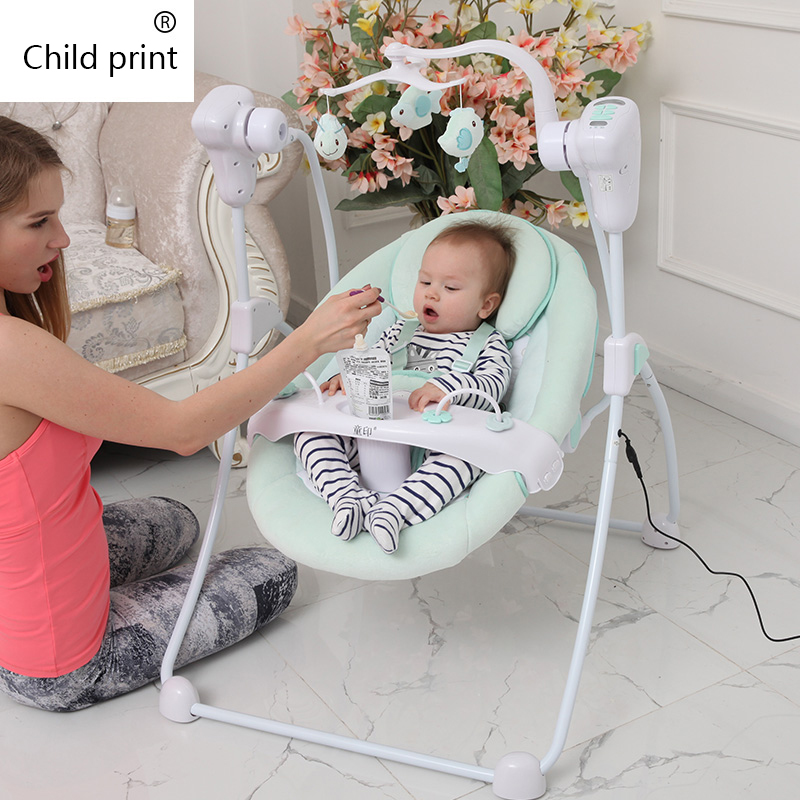 Baby Electric Shaker Children's Prints Increase Baby Bb Electric Rocking Chair Cradle Bed Comfort Reclining Swing