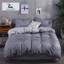 Liv-Esthete Fashion Stars Gray Bedding Set Soft Printed Duvet Cover Pillowcase Double Queen King Bed Linen Bedspread Flat Sheet