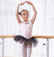 2019 Child Girls Training Gymnastics Ballet Tutu Leotard Short Sleeve Dance Dress Princess Pompon Skirt