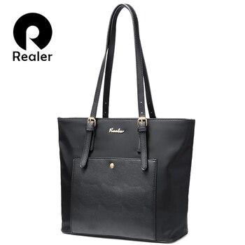 Mais real mulher bolsa grande oxford tote bolsa feminina bolsa de ombro para mulheres com bolsos senhoras designer bolsas preto azul