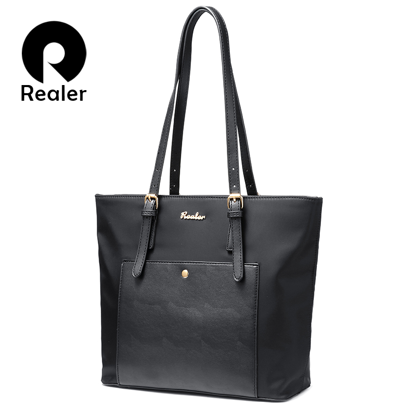 REALER Women Handbag Large Oxford Tote Bag Female Shoulder Bag For Women With Pockets Ladies Designer Purses Black Blue