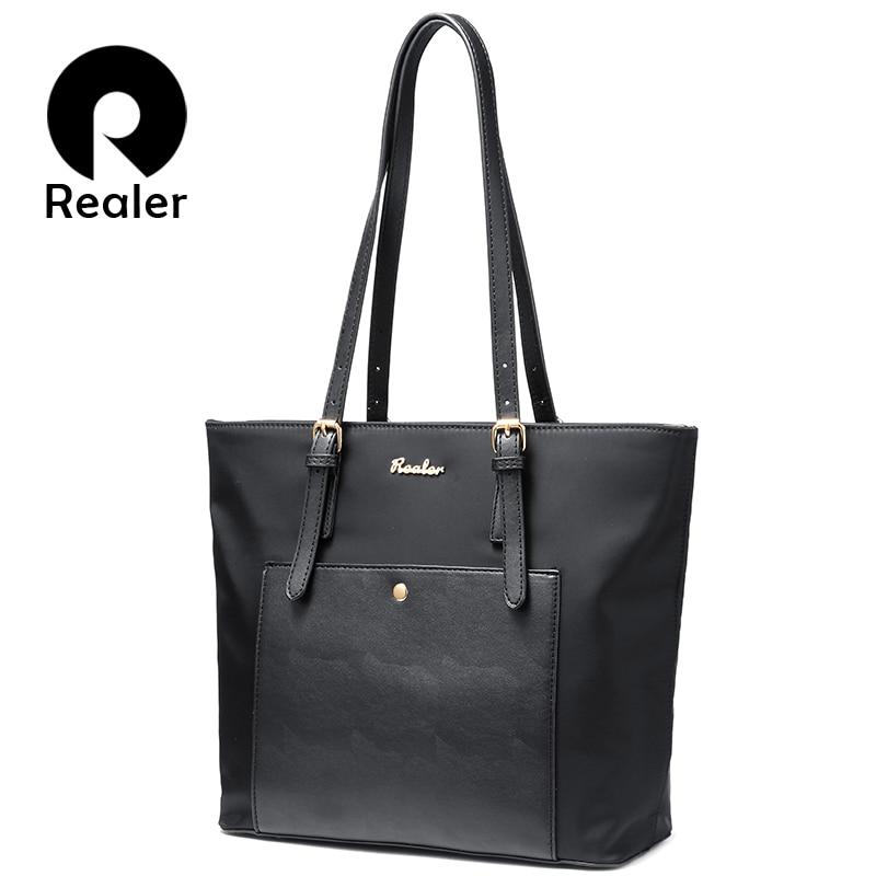 REALER Women Handbag Large Oxford Tote Bag Female Shoulder Bag For Women With Pockets Ladies Designer Purses Black Blue