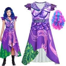 Костюм для девочек на Хэллоуин для детей, косплей-костюм Эви мал для детей 3, парик, карнавальвечерние, комбинезон, одежда для косплея