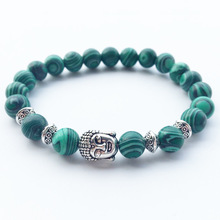 2019 Fashion Handmade Bead Bracelet Natural Malachite Buddha Head Stretch Charm for Women Men Delicacy Jewelry