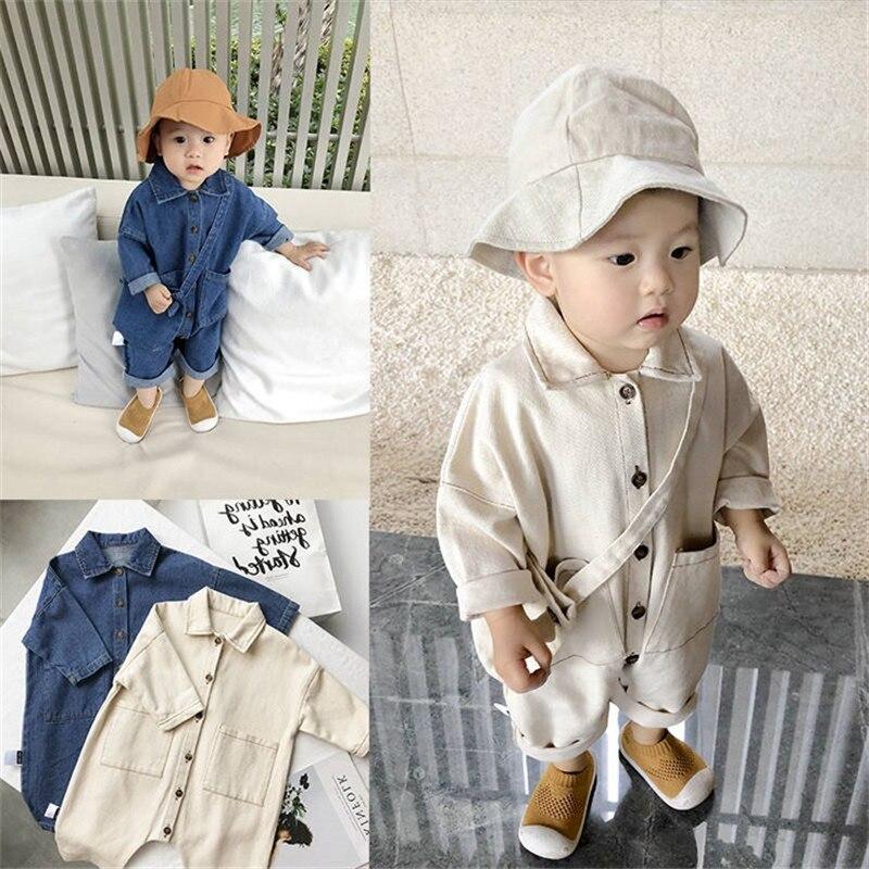 2020 Soft Denim Baby Romper Solid Infant Clothes Newborn Jumpsuit Babies Boys Costume Cowboy Fashion Jeans Children Clothes