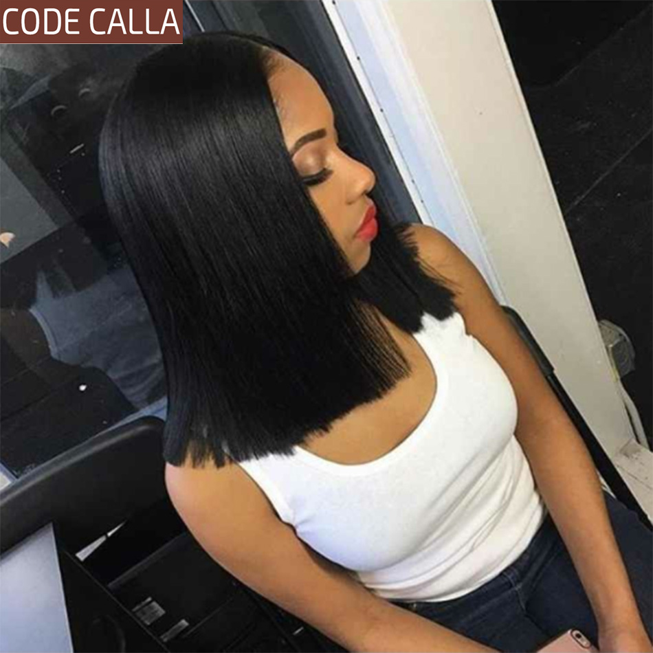 Short Straight Bob Human Hair Wigs For Women 13*4 Lace Front Human Hair Wigs Pre-Plucked Hairline Code Calla Brazilian Lace Wig