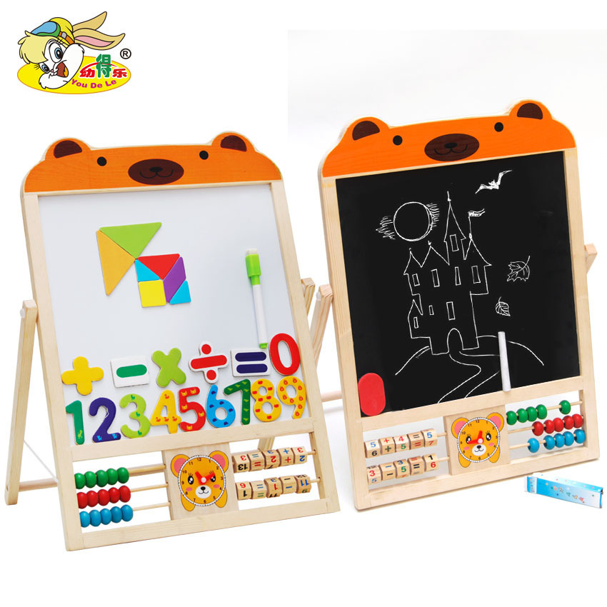 Double-Sided Painted Magnetic Black Whiteboard Solid Wood Baby Doing Homework Drawing Board Doodle Board Blackboard Stand Childr