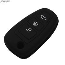Jingyuqin Styling Remote Flip Car Key Fob Silicone Case Cover Protector For FORD Fiesta New Focus Mondeo Kuga ECO Sport 3 Button